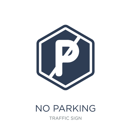No parking sign icon. Trendy flat vector No parking sign icon on white background from traffic sign collection, vector illustration can be use for web and mobile, eps10