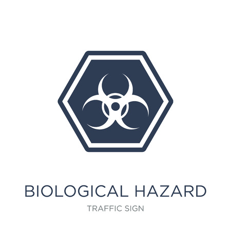 Biological hazard sign icon. Trendy flat vector Biological hazard sign icon on white background from traffic sign collection, vector illustration can be use for web and mobile, eps10
