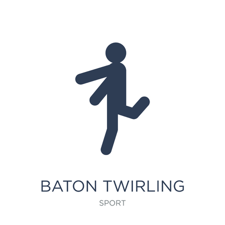 baton twirling icon. Trendy flat vector baton twirling icon on white background from sport collection, vector illustration can be use for web and mobile, eps10 Illustration