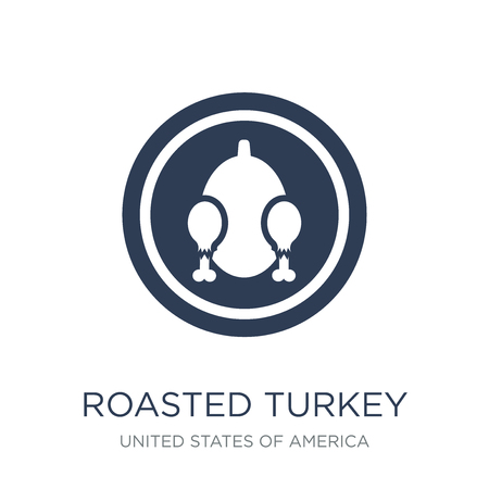 Roasted turkey icon. Trendy flat vector Roasted turkey icon on white background from United States of America collection, vector illustration can be use for web and mobile, eps10 写真素材 - 112415602