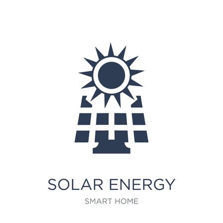 Icono de energía solar. Icono de energía solar de moda vector plano sobre fondo blanco de la colección de casa inteligente, Ilustración de vectores se puede utilizar para web y móvil, eps10 Ilustración de vector
