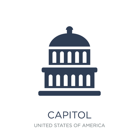 Capitol icon. Trendy flat vector Capitol icon on white background from United States of America collection, vector illustration can be use for web and mobile, eps10 Stock Vector - 112415652