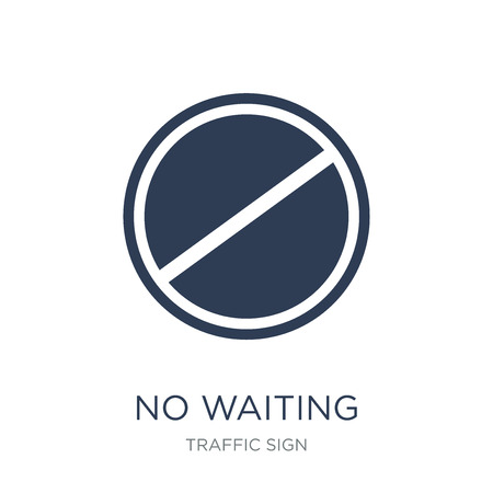 No waiting sign icon. Trendy flat vector No waiting sign icon on white background from traffic sign collection, vector illustration can be use for web and mobile, eps10 写真素材 - 112373466