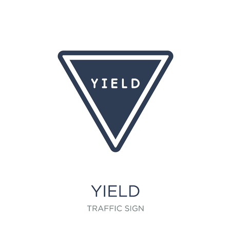 Yield sign icon. Trendy flat vector Yield sign icon on white background from traffic sign collection, vector illustration can be use for web and mobile, eps10