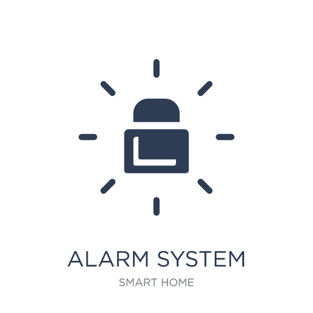 alarm system icon. Trendy flat vector alarm system icon on white background from smart home collection, vector illustration can be use for web and mobile, eps10