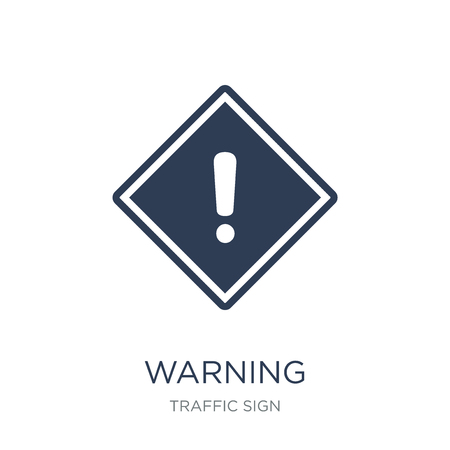 Warning sign icon. Trendy flat vector Warning sign icon on white background from traffic sign collection, vector illustration can be use for web and mobile, eps10