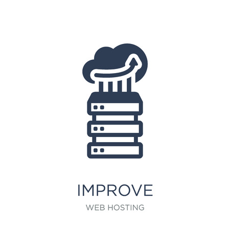 Improve icon. Trendy flat vector Improve icon on white background from web hosting collection, vector illustration can be use for web and mobile, eps10
