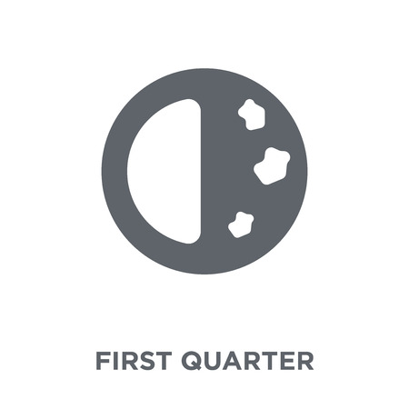 First quarter icon. First quarter design concept from Weather collection. Simple element vector illustration on white background.