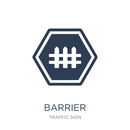 Barrier sign icon. Trendy flat vector Barrier sign icon on white background from traffic sign collection, vector illustration can be use for web and mobile, eps10 Illustration