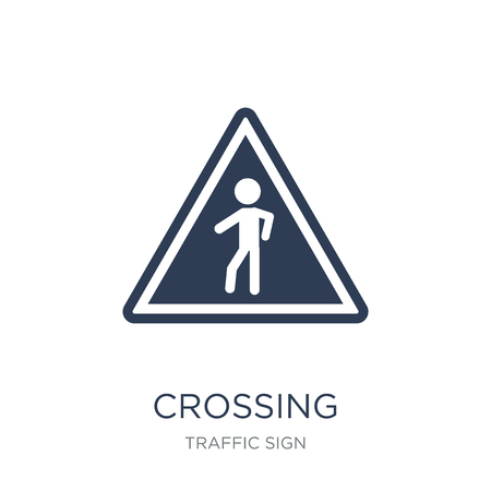 Crossing sign icon. Trendy flat vector Crossing sign icon on white background from traffic sign collection, vector illustration can be use for web and mobile, eps10