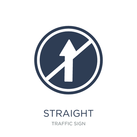 Straight sign icon. Trendy flat vector Straight sign icon on white background from traffic sign collection, vector illustration can be use for web and mobile, eps10 Vecteurs