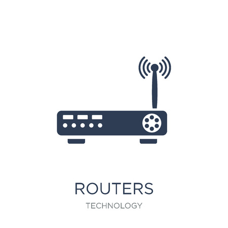 Routers icon. Trendy flat vector Routers icon on white background from Technology collection, vector illustration can be use for web and mobile, eps10 Stock Vector - 112416248