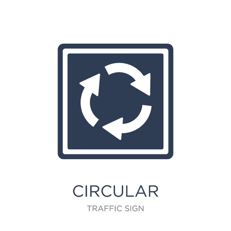circular intersection sign icon. Trendy flat vector circular intersection sign icon on white background from traffic sign collection, vector illustration can be use for web and mobile, eps10