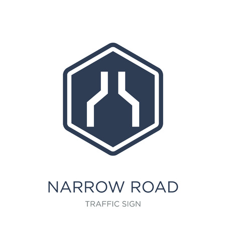 Narrow road sign icon. Trendy flat vector Narrow road sign icon on white background from traffic sign collection, vector illustration can be use for web and mobile, eps10 Çizim