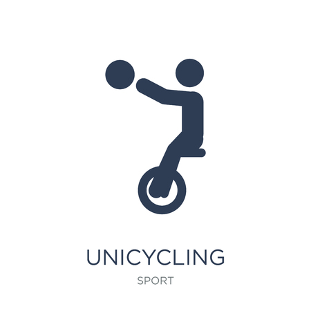unicycling handball icon. Trendy flat vector unicycling handball icon on white background from sport collection, vector illustration can be use for web and mobile, eps10