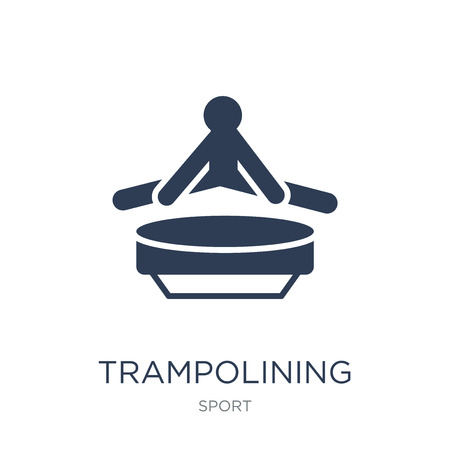 trampolining icon. Trendy flat vector trampolining icon on white background from sport collection, vector illustration can be use for web and mobile, eps10