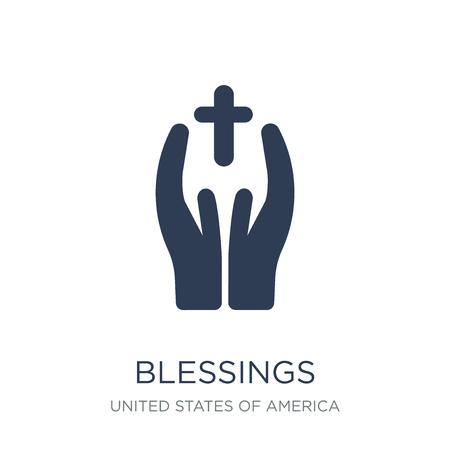 icona di benedizioni. Icona di benedizioni piatto vettoriale su priorità bassa bianca da collezione di Stati Uniti d'America, illustrazione vettoriale può essere utilizzato per il web e mobile, eps10 Vettoriali