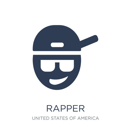 Rapper icon. Trendy flat vector Rapper icon on white background from United States of America collection, vector illustration can be use for web and mobile, eps10
