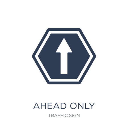 Ahead only sign icon. Trendy flat vector Ahead only sign icon on white background from traffic sign collection, vector illustration can be use for web and mobile, eps10 Vecteurs