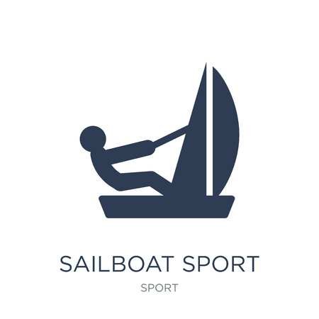 Sailboat sport icon. Trendy flat vector Sailboat sport icon on white background from sport collection, vector illustration can be use for web and mobile, eps10