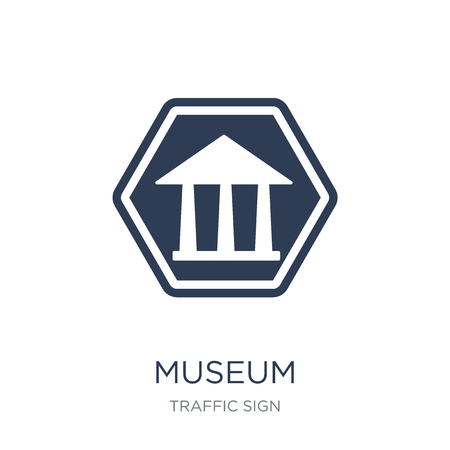 Museum sign icon. Trendy flat vector Museum sign icon on white background from traffic sign collection, vector illustration can be use for web and mobile, eps10