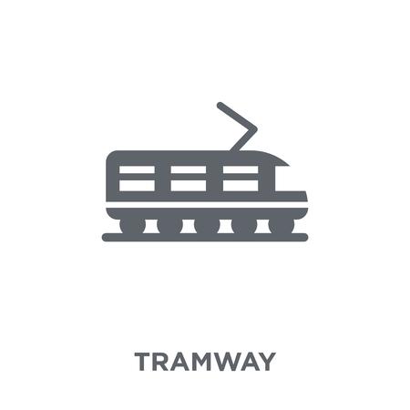 Ikona tramwaju. Koncepcja projektowa tramwaj z kolekcji transportu. Prosty element ilustracji wektorowych na białym tle.