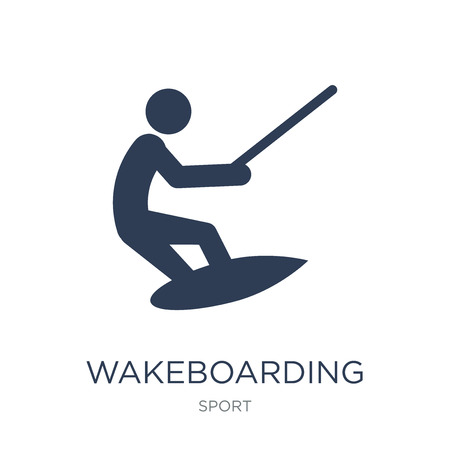 wakeboarding icon. Trendy flat vector wakeboarding icon on white background from sport collection, vector illustration can be use for web and mobile, eps10 版權商用圖片 - 112416659