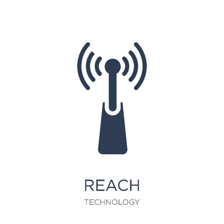 Reach icon. Trendy flat vector Reach icon on white background from Technology collection, vector illustration can be use for web and mobile, eps10
