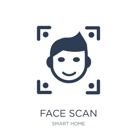 Icono de escaneo facial. Icono de exploración facial de moda vector plano sobre fondo blanco de la colección de casa inteligente, Ilustración de vectores se puede utilizar para web y móvil, eps10