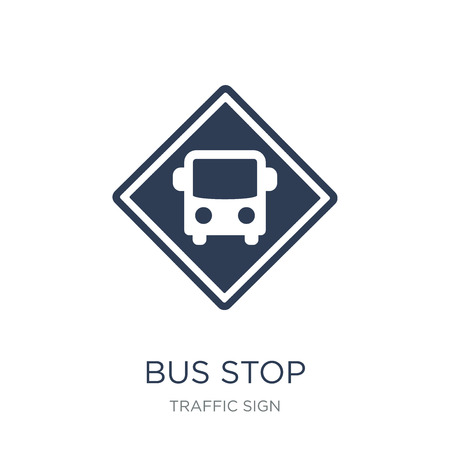 Bus stop sign icon. Trendy flat vector Bus stop sign icon on white background from traffic sign collection, vector illustration can be use for web and mobile, eps10