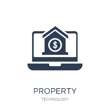 Property icon. Trendy flat vector Property icon on white background from Technology collection, vector illustration can be use for web and mobile, eps10 Stock Illustratie