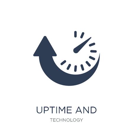 Icona di uptime e downtime. Icona di uptime e downtime piatto vettoriale su priorità bassa bianca da collezione di tecnologia, illustrazione vettoriale può essere utilizzato per il web e mobile, eps10 Vettoriali