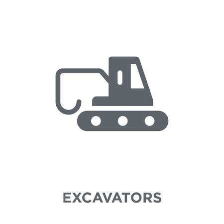 Excavators icon. Excavators design concept from Transportation collection. Simple element vector illustration on white background.  イラスト・ベクター素材