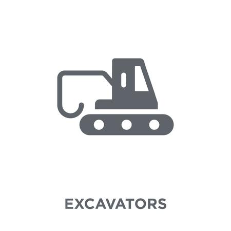 Icône de pelles. Concept de design d'excavatrices de la collection Transport. Illustration vectorielle élément simple sur fond blanc.