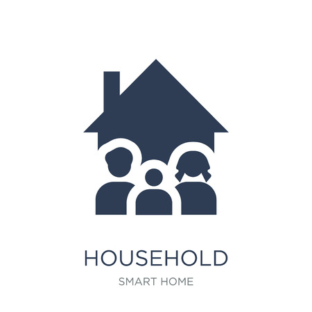 Household icon. Trendy flat vector Household icon on white background from smart home collection, vector illustration can be use for web and mobile, eps10 Foto de archivo - 112416697