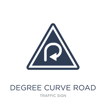 degree curve road sign icon. Trendy flat vector degree curve road sign icon on white background from traffic sign collection, vector illustration can be use for web and mobile, eps10