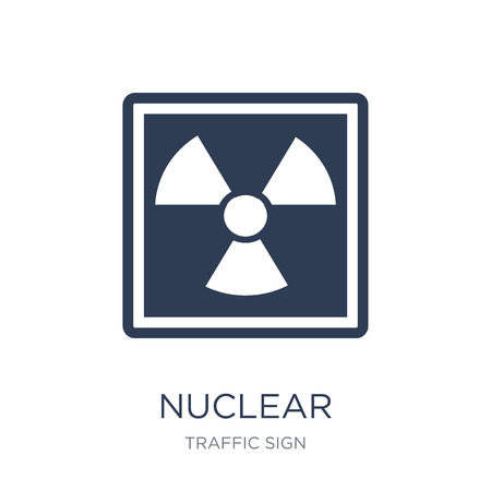 Nuclear sign icon. Trendy flat vector Nuclear sign icon on white background from traffic sign collection, vector illustration can be use for web and mobile, eps10 Ilustração