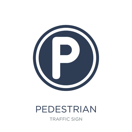 pedestrian prohibited sign icon. Trendy flat vector pedestrian prohibited sign icon on white background from traffic sign collection, vector illustration can be use for web and mobile, eps10 Banque d'images - 112417100