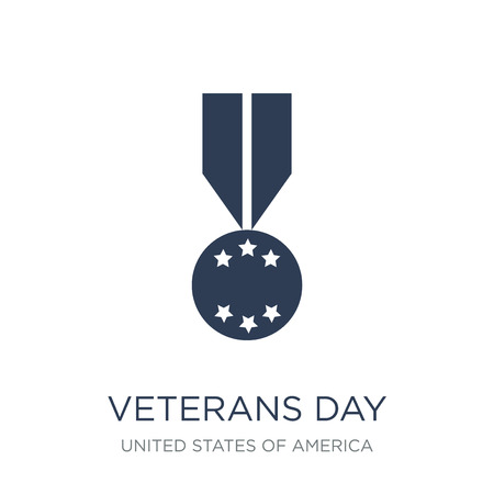 Veterans Day icon. Trendy flat vector Veterans Day icon on white background from United States of America collection, vector illustration can be use for web and mobile, eps10 Vektorové ilustrace