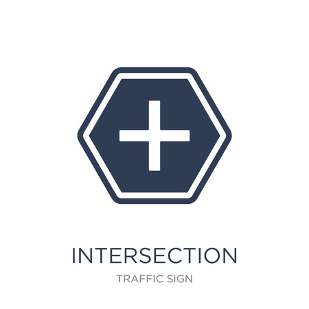 Intersection sign icon. Trendy flat vector Intersection sign icon on white background from traffic sign collection, vector illustration can be use for web and mobile, eps10