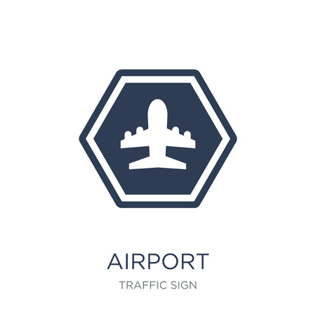 Airport sign icon. Trendy flat vector Airport sign icon on white background from traffic sign collection, vector illustration can be use for web and mobile, eps10