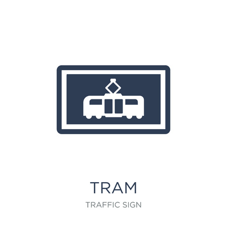 Tram sign icon. Trendy flat vector Tram sign icon on white background from traffic sign collection, vector illustration can be use for web and mobile, eps10