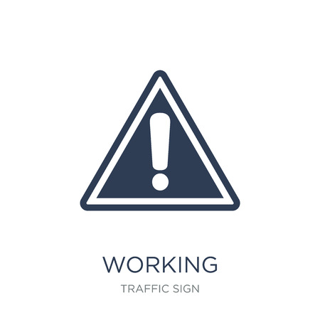 Working sign icon. Trendy flat vector Working sign icon on white background from traffic sign collection, vector illustration can be use for web and mobile, eps10 Archivio Fotografico - 111974622
