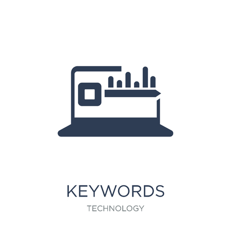 Keywords icon. Trendy flat vector Keywords icon on white background from Technology collection, vector illustration can be use for web and mobile, eps10 Illustration