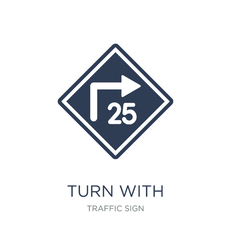turn with advisory speed sign icon. Trendy flat vector turn with advisory speed sign icon on white background from traffic sign collection, vector illustration can be use for web and mobile, eps10