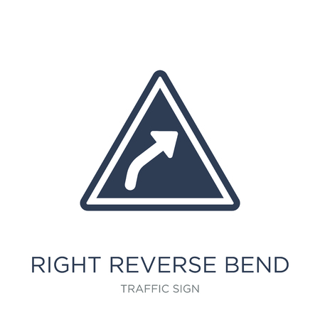 Right reverse bend sign icon. Trendy flat vector Right reverse bend sign icon on white background from traffic sign collection, vector illustration can be use for web and mobile, eps10 Banco de Imagens - 112417210