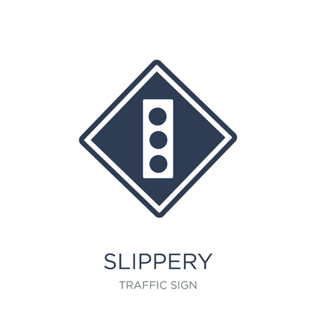 Slippery sign icon. Trendy flat vector Slippery sign icon on white background from traffic sign collection, vector illustration can be use for web and mobile, eps10 Ilustração