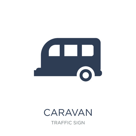 Caravan sign icon. Trendy flat vector Caravan sign icon on white background from traffic sign collection, vector illustration can be use for web and mobile, eps10 Banque d'images - 112417222
