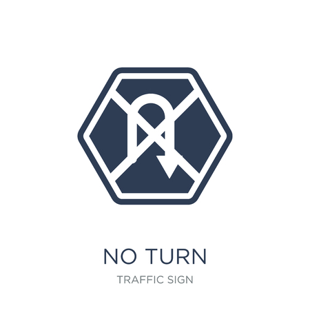 No turn sign icon. Trendy flat vector No turn sign icon on white background from traffic sign collection, vector illustration can be use for web and mobile, eps10