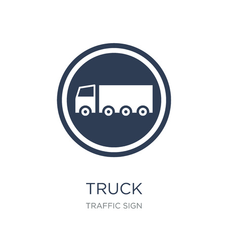 Truck sign icon. Trendy flat vector Truck sign icon on white background from traffic sign collection, vector illustration can be use for web and mobile, eps10
